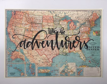 United States Map // Vintage Style Map // Let's Be Adventurers