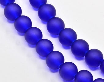 """Frosted Cobalt Blue 6mm Round Glass Beads (30"""" Strand)"""