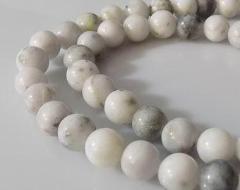 "Natural 8-9mm Round Green Earth Jasper Gemstone Beads (15"" Strand)"