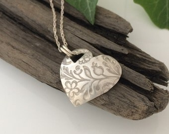 Handmade Heart Pendant with Embossed Flower Design in Fine Silver, Heart Shaped Silver Pendant, 999 Silver Flower Necklace, Flower Pendant