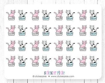 Kawaii Clean Cat Litter Box Planner Stickers Pink Blue Kitty Stickers