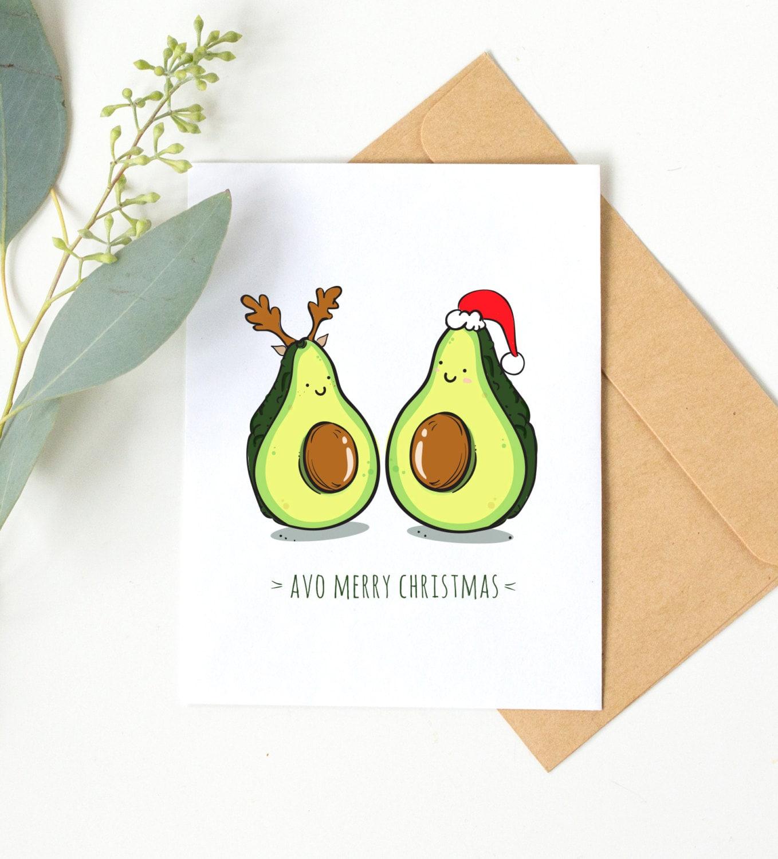 Avo Merry Christmas Funny Christmas Card Avocado Christmas