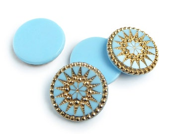 Vintage German Glass Cabochons, turquoise with real gold sun pattern  – 26 mm - round - 2 pcs - C55