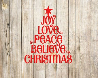 Joy Peace Christmas SVG GSP DXF, instant download