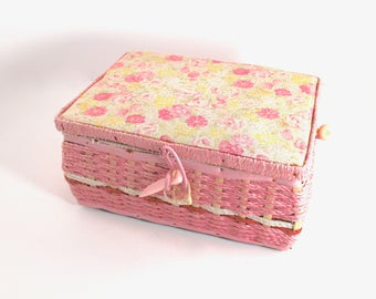 Vintage pink sewing basket, 1960s or 70s, wicker, sewing box, pink floral fabric, rope-like handle, satin interior, pincushion