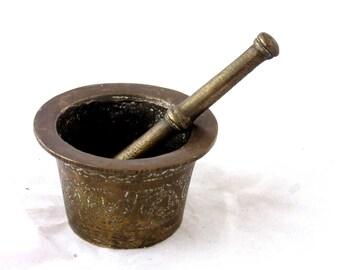 Antique small  Mortar and Pestle. copper/brass mini hand engraved antique Mortar and pestle.