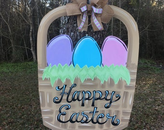 Easter Egg Door Hanger, easter door hanger, easter basket door hanger, egg basket door hanger, easter basket, easter decoration, Easter egg