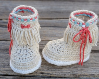Crochet Baby Fringe Boots, Baby Girl Boots, Moccasin Fringe Booties, Booties, Baby Gift