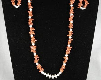 Dramatic Vintage Navajo Coral Collection Silver Necklace Earrings