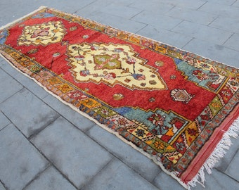 "Vintage Turkish Runner Rug, Handmade Anatolian  Hallway Wool Turkish Red Runner Rug, Red Oushak Wool  Rug Runner 325x113cm,130""x45"""