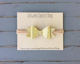 glitter gold headband, felt gold headband, baby headband, gold hair bow, baby hair bows, felt bows, baby girl headband, hair bows
