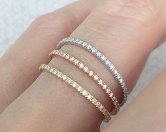 Diamond Eternity Ring 18k . Skinny Micro Pave Eternity Ring . Full or Half Eternity . Wedding Band Thin Diamond Ring. Yellow White Rose Gold