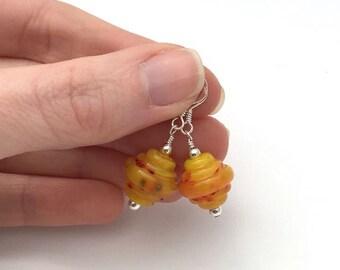 Summer earrings / yellow drop earrings / everyday earrings / lampwork glass earrings / colourful earrings / earrings gift for her