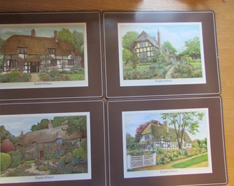 Set Of 4 Placemats English Cottages VTG / VINTAGE 4 rigid placemats with Cork underneath / VTG Vinyl Placemat With Cork