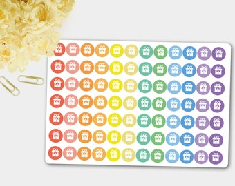 84  matte birthday stickers, planner stickers, party stickers, Erin Condren planner, scrapbook reminder, birthday present, rainbow stickers
