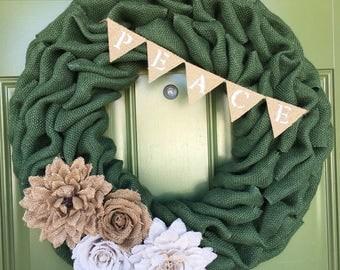 Fall Wreath, Fall Burlap Wreath, Shabby Chic Wreath, Autumn Wreath, Summer Wreath, Baby Shower Wreath, Everyday Wreath, It's A Boy Wreath