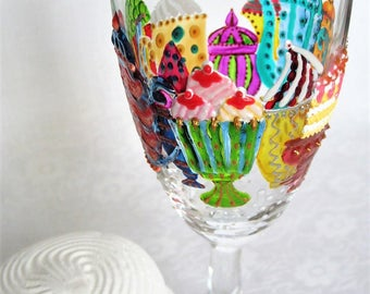 Hand painted champagne flute glass, Multicolored party glass, Birthday gift, Party favors, Custom, Stained glass, Tea party, Cupcake