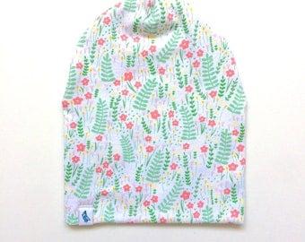 Baby Beanie - Slouchy Beanie - Spring Flower Slouchy Beanie - Beanie Hat - Baby Slouchy Beanie