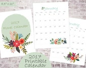 Floral 2017 Printable Calendar Pages // Monthly Planner // Wall Calendar // 8.5x11 pdf file INSTANT DOWNLOAD