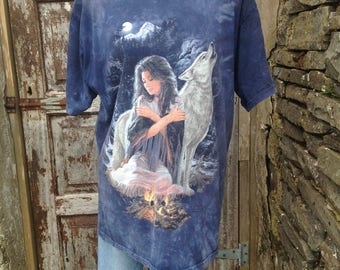 Girl and wolf tie dye T-shirt