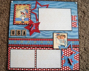 Fourth of July Single Page Layout - BoBunny - July 4th - Patriotic - Vintage