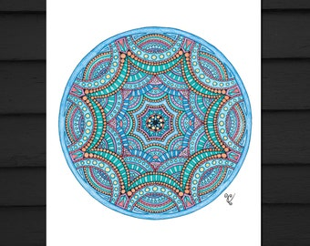 Blue Mandala Art Signed Print