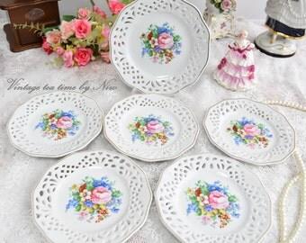 Plate set vintage perfored plate set openwork porcelain dessert plate set delicate perfored porcelain dessert plate and saucer set
