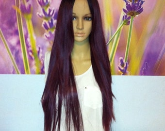 Ombré dark roots to maroon red wine red  lace top  front wig 27'' straight.