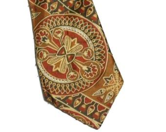 Vintage 60s tie  Sammy necktie Bronze retro tie flowers print necktie exotic print tie Made in Britain tie