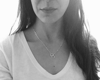 Circle Lariat Necklace, Simple Short Necklace, Sterling Silver, Lightweight