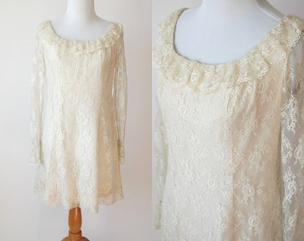 60s Cream Lace Dress with Ruffle Neck and Sheer Lace Ruffle Sleeves - Simple Wedding Dress - Size Small