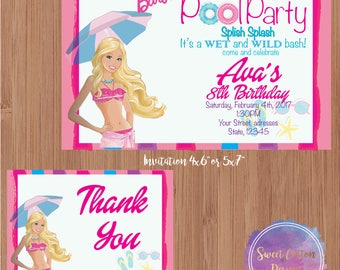 Barbie Pool Party/ Birthday with thank you note