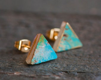 Turquoise Stud Earrings,Turquoise Earrings,Turquoise studs,Turquoise Post Earring,Turquoise Jewelry,Stone Stud,Gold Turquoise Stud Earrings