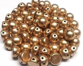 Matte Metallic Flax, 2 hole Cabochon Czech Glass Beads 6.5mm x 5.5mm, 20 Beads K0171