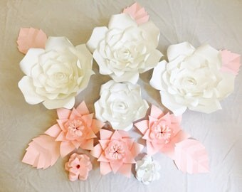 Large Paper Flowers, Set of 9 flowers!! Leaves included, wall decor, events , photography, decor customize size, style and colors!!