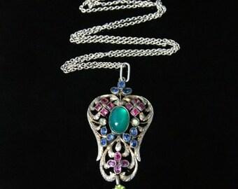 Antique Victorian Emerald Ruby Sapphire Pendant & Chain Circa 1880
