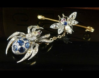 Sapphire Diamond Spider and Fly Brooch