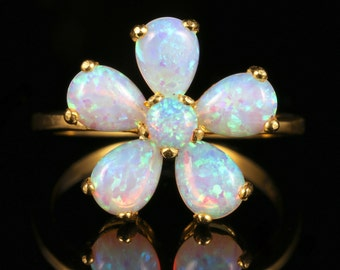 Opal Cluster Flower Ring 18ct Gold On Silver