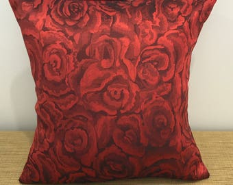 """SALE! Small Goth Fabric Cushion Cover Throw Pillow. Blood Red Roses. 14"""" (35cm). Made Australia. Small scatter cushion"""
