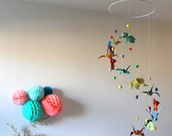 Baby Elephants, cranes and stars, multicolored pop tart origami mobile
