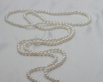 3-4mm small Near Round Long Pearl Necklace,90cm tiny freshwater cultured pearl necklace no clasp,seed pearl necklace