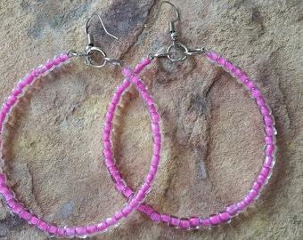 Big hoop earrings big earrings big hoops beaded/handmade/simple/light/stylish/fashion/modern/wedding/bridesmaid/elegant/gift friend/earrings