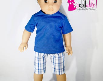 American made Boy Doll Clothes, 18 inch Boy Doll Clothing, boy doll tee with plaid shorts made to fit like American girl doll clothes
