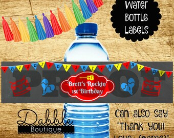 Music Water Bottle Labels Music Theme Water Bottle Labels