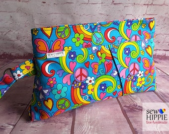 Makeup Bag, Makeup Accessory, Cosmetic Bag, Hippie Makeup Purse, Small Purse, Clutch Purse, Travel Pouch, Travel Wallet, Small Travel Bag
