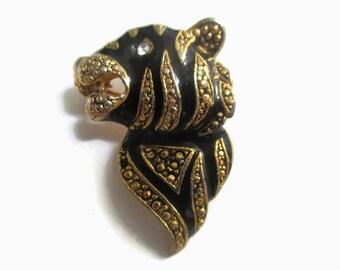 Tiger Brooch, Rhinestone,  Vintage Enamel Animal  Pin,  1960s Jewelry,  Figural