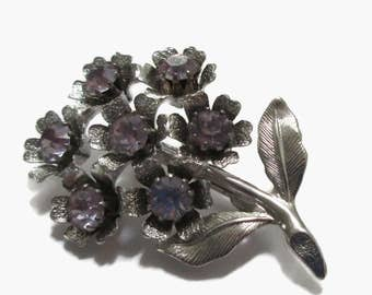 Rhinestone Brooch, Vintage Flower Pin, Lavender, Silver Tone,Floral Bouquet, Mid Century Jewelry 1950s-1960s