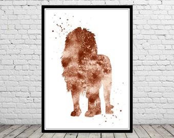 Lion, watercolor print, animal,watercolor,kids room decor,watercolor print(2427b)