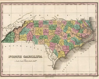 Map of North Carolina NC, 1824.  Restoration Hardware Home Deco Style Old Wall Map. Vintage Reproduction