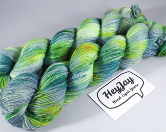 Hand Dyed Sock Yarn Superwash Merino - Jungle Wasteland
